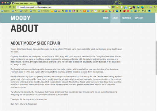 Moody Shoe Repair (new) - About