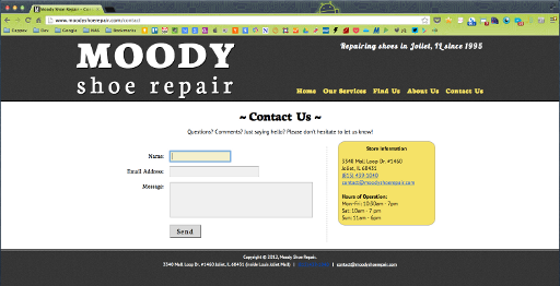 Moody Shoe Repair (old) - Contact Us